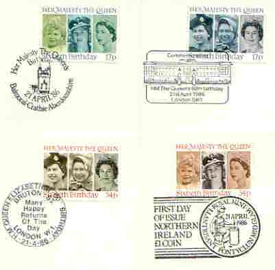 Great Britain 1986 Queen's 60th Birthday set of 4 PHQ cards with appropriate stamps each very fine used with first day cancels, stamps on royalty, stamps on 60th