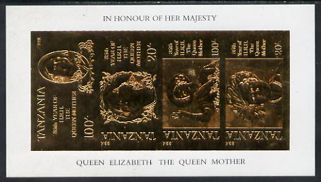 Tanzania 1985 Life & Times of HM Queen Mother imperf souvenir sheet containing the 4 values each inscribed in error 'HRH the Queen Mother' instead of 'HM Queen Elizabeth the Queen Mother', embossed in 22k gold foil unmounted mint