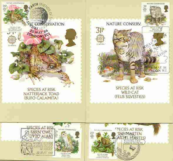 Great Britain 1986 Europa - Nature Conservation set of 4 PHQ cards with appropriate stamps each very fine used with first day cancels