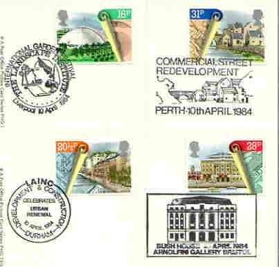 Great Britain 1984 Urban Renewal set of 4 PHQ cards with appropriate stamps each very fine used with first day cancels