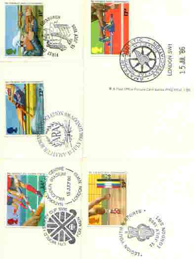 Great Britain 1986 Commonwealth Games & World Hockey Cup set of 5 PHQ cards with appropriate stamps each very fine used with first day cancels