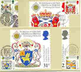 Great Britain 1987 Revival of the Order of the Thistle set of 4 PHQ cards with appropriate stamps each very fine used with first day cancels