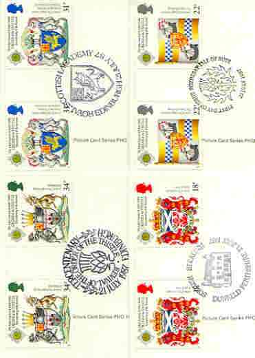 Great Britain 1987 Revival of the Order of the Thistle set of 4 PHQ cards with appropriate gutter pairs each very fine used with first day cancels