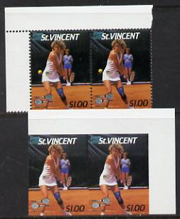 St Vincent 1987 International Tennis Players $1 (Chris Evert) unmounted mint horiz imperf pair with ball omitted nice double variety (plus normal single) SG 1060var