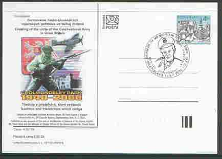 Slovakia 2000 4k postal stationery card for Anniversary of Czech Army in Great Britain with illustrated cancel portraying S/Ldr Otto Smik DFC