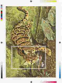 Bhutan 1990 Endangered Wildlife - Intermediate stage computer-generated essay #2 (as submitted for approval) for 25nu m/sheet (Clouded Leopard) 190 x 135 mm very similar ...