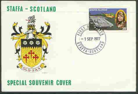 Staffa 1977 Taking Off from Aircraft Carrier 25p (from Lindbergh's Flight Anniversary set) on cover with first day cancel