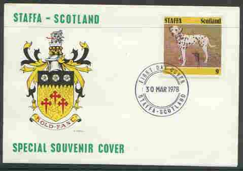Staffa 1978 Dalmation 9p from perf Dog set of 8, on cover with first day cancel