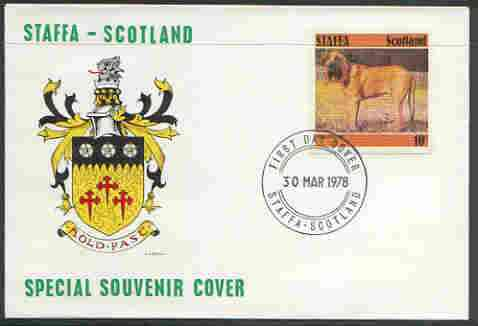 Staffa 1978 Bloodhound 10p from imperf Dog set of 8, on cover with first day cancel