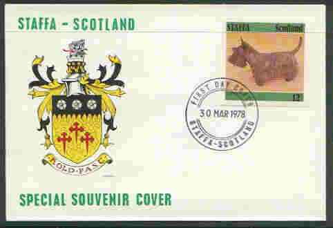 Staffa 1978 Scottish Terrier 12p from imperf Dog set of 8, on cover with first day cancel