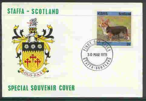 Staffa 1978 Corgi 18p from imperf Dog set of 8, on cover with first day cancel