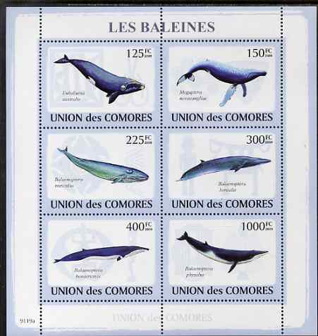 Comoro Islands 2009 Whales perf sheetlet containing 6 values unmounted mint
