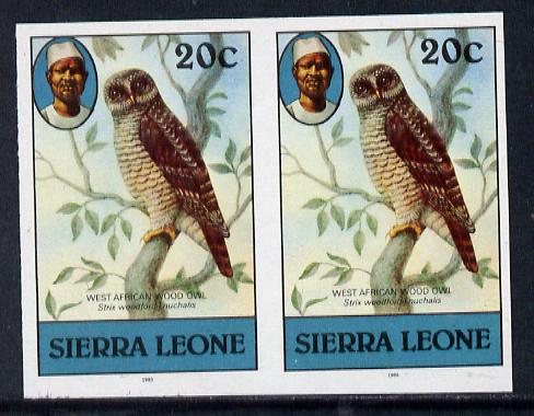 Sierra Leone 1983 Wood Owl 20c in unmounted mint IMPERF pair (as SG 767)