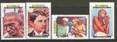 Zambia 1998 50th Death Anniversary of Gandhi set of 4 unmounted mint, SG 774-777*