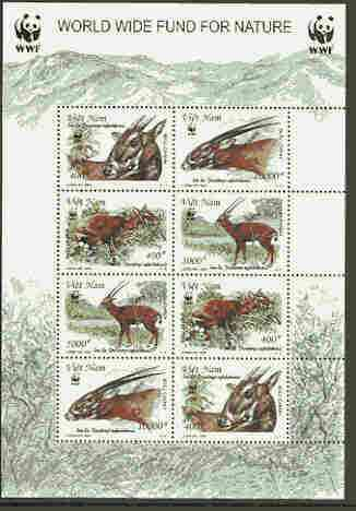 Vietnam 2000 WWF - Antelope sheetlet containing two sets of 4 each stamp opt'd SPECIMEN, scarce with only 100 sheets thus produced unmounted mint