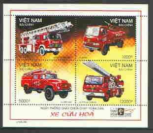 Vietnam 2000 Fire Engines sheetlet containing set of 4, each stamp opt'd SPECIMEN, scarce with only 100 sheets thus produced unmounted mint