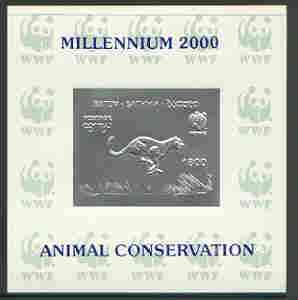 Batum 2000 WWF - Cheetah imperf sheetlet on shiney card with design embossed in silver opt'd 'Millennium 2000, Animal Conservation' in blue