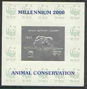 Batum 2000 WWF - Elephant imperf sheetlet on shiney card with design embossed in silver opt'd 'Millennium 2000, Animal Conservation' in blue