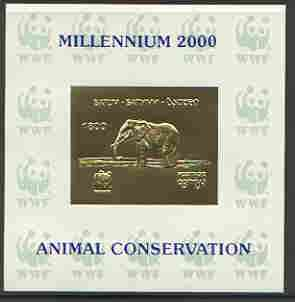 Batum 2000 WWF - Elephant imperf sheetlet on shiney card with design embossed in gold opt'd 'Millennium 2000, Animal Conservation' in blue