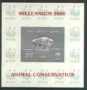 Batum 2000 WWF - Buffalo imperf sheetlet on shiney card with design embossed in silver opt'd 'Millennium 2000, Animal Conservation' in red