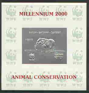 Batum 2000 WWF - Elephant imperf sheetlet on shiney card with design embossed in silver opt'd 'Millennium 2000, Animal Conservation' in red