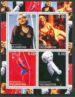 Tadjikistan 2000 Marilyn Monroe perf sheetlet containing 4 values (coloured) unmounted mint