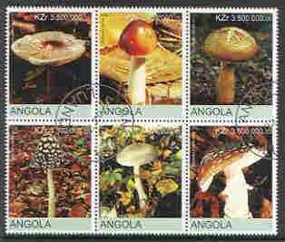 Angola 2000 Fungi perf set of 6 very fine cto used (vert format)