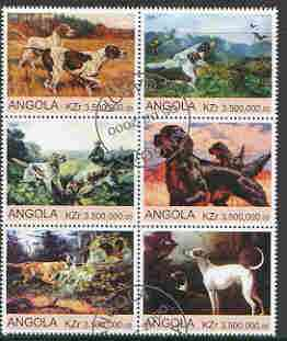 Angola 2000 Working Dogs perf set of 6 values very fine cto used