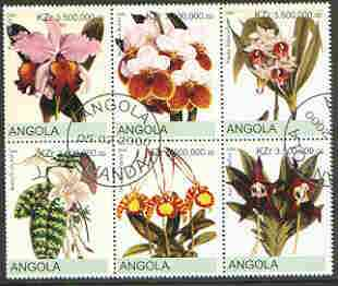Angola 2000 Orchids #1 set of 6 very fine cto used