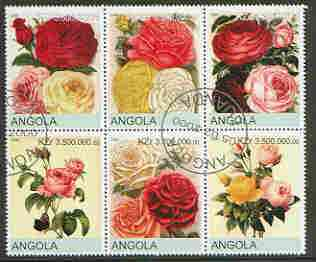 Angola 2000 Roses set of 6 very fine cto used
