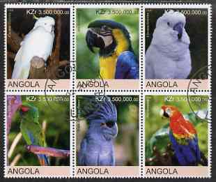 Angola 2000 Parrots set of 6 very fine cto used