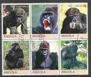 Angola 2000 Primates perf set of 6 very fine cto used