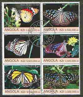 Angola 2000 Butterflies set of 6 very fine cto used