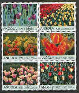 Angola 2000 Tulips set of 6 very fine cto used