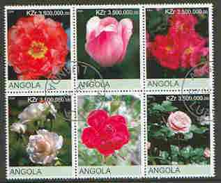 Angola 2000 Flowers #1 set of 6 very fine cto used