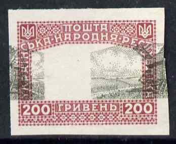 Ukraine 1920 unissued 200 gr Windmill black & claret imperf proof on ungummed paper with centre misplaced 13 mm horizontally (blocks pro rata)
