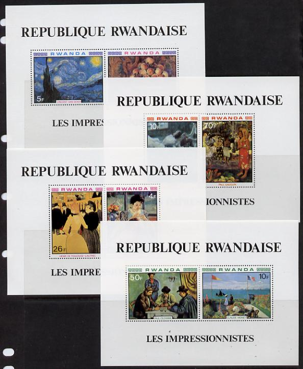 Rwanda 1980 Impressionist Paintings perf set of 4 m/sheets unmounted mint, SG MS 1005, Mi BL 90-93A