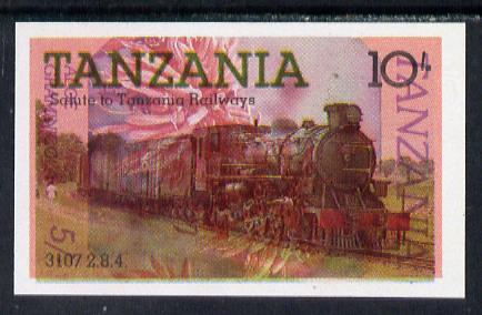Tanzania 1985 Railways 10s (SG 431) IMPERF printed over 1986 Flowers 5s (SG 475) unusual unmounted mint