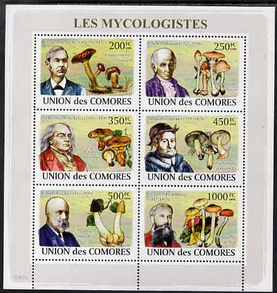 Comoro Islands 2009 Fungi & Mycologists perf sheetlet containing 6 values unmounted mint, Michel 2051-6