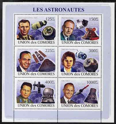 Comoro Islands 2009 Astronauts & Space perf sheetlet containing 6 values unmounted mint, Michel 2009-14