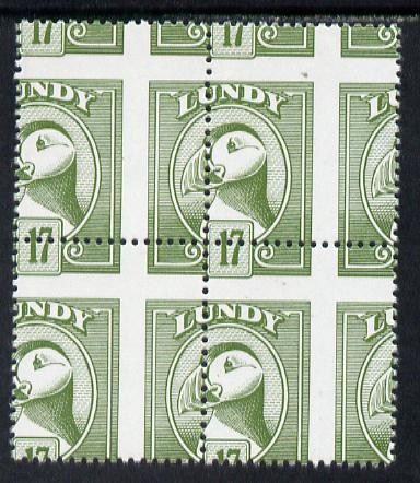 Lundy 1982 Puffin def 17p green with superb misplacement of horiz and vert perfs unmounted mint block of 4