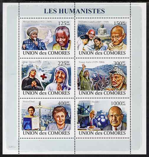 Comoro Islands 2009 Humanitarians perf sheetlet containing 6 values unmounted mint, Michel 1974-9