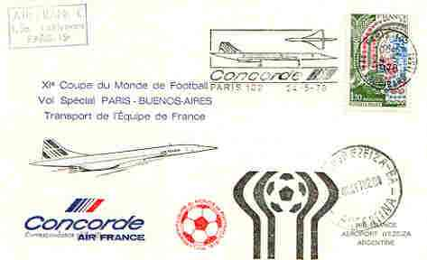 France 1978 Air France flight post card for World Cup Football (Paris to Buenos Aires) with illustrated Concorde cancel