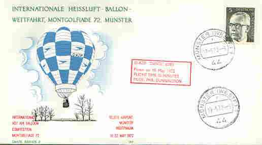 Germany - West 1972 International Hot Air Balloon Competition cover (illustrated) with G-AZIP 'Dante' cachet, stamps on aviation, stamps on balloons