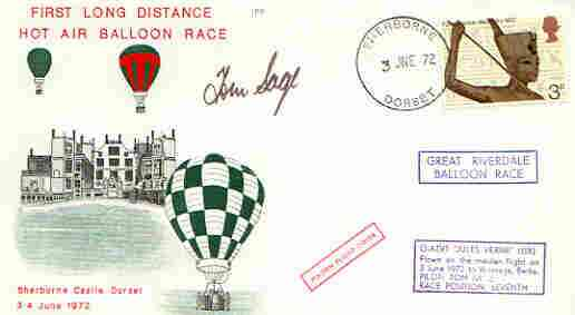 Great Britain 1972 First Long Distance Hot Air Balloon Race cover (illustrated) with G-AZVT 'Jules Verne' cachet signed by pilot Tom Sage