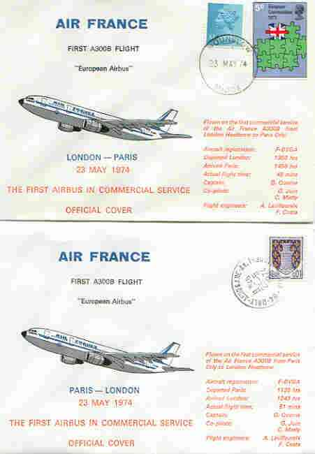Great Britain 1974 Air France Airbus first commercial service flight cover London to Paris plus matched cover for return