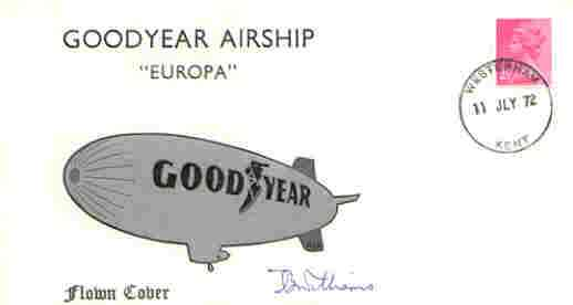 Great Britain 1972 Goodyear Airship 'Europa' flown cover (illustrated) signed by Capt T B Williams AFC (only 600 covers flown)