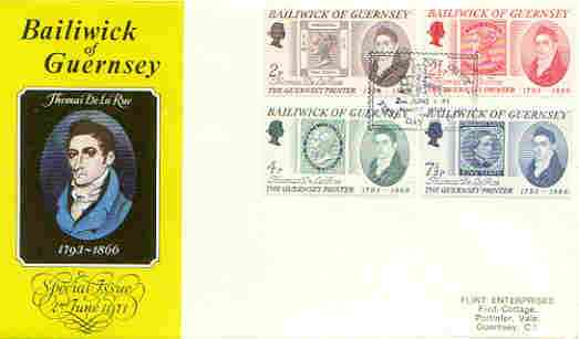 Guernsey 1971 Thomas De La Rue Commemoration set of 4 on illustrated cover with first day cancel