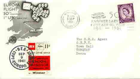 Great Britain 1961 Europa 50th Anniversary of first Aerial Post illustrated commem cover with 11d BEA Hendon to Windsor label and special 50th Anniversary cancel