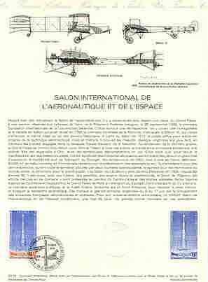 France 1979 International Aeronautics and Space Exhibition stamp affixed to document (20-79) with illustrated Concorde first day cancel, printed stamp in blue only plus official die stamp.